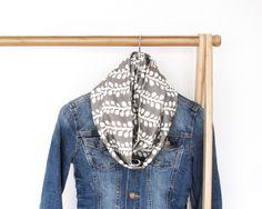 Steel Orchid Vines Infinity Scarf/ Blue jean jacket