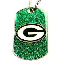 Aminco Bay Packers Fan Glitter Dog Tag Necklace