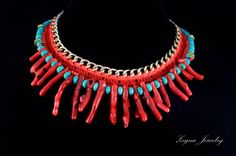 Corala and Turquoise Statement Crochet Chain by ZegnaJewelry