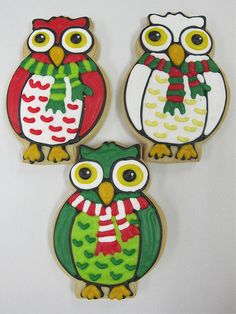 Precious owl cookies~    By Sarah Kerchner, Bundles of Cookies,  Red, green, white Christmas owls