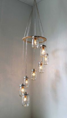Spiraling mason jar light. Prettiest mason jar light I've seen so far! Would be nice as a standing light.
