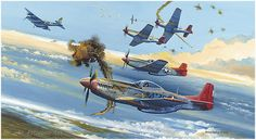 Tuskegee Trigger Time - a limited edition military print by Robert Bailiey featuring Tuskegee Airmen in Mustangs of the Fighter Squadron as they defend an R. photo recon Mosquito above Germany during early Featured aircraft is one of Ww2 Aircraft, Fighter Aircraft, Fighter Jets, Military Aircraft, Mustang P51, Tuskegee Airmen, War Thunder, Aircraft Painting, Airplane Art