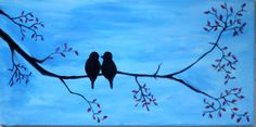 A personal favorite from my Etsy shop https://www.etsy.com/il-en/listing/463038176/birds-on-a-branch-acrylic-painting-wall