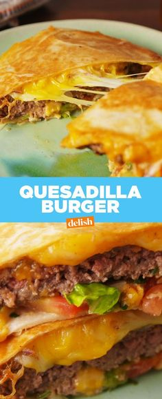 How have we NEVER thought to combine a quesadilla and burger?? Get the recipe at Delish.com.