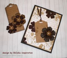 Stampin up Vintage Cards - Karten im Vintage Stil - Blumen aus gebrauchtem glitzer Weihnachtsgeschenkpapier (fancy Paper for gift) Tag vom Verpackungsmaterial - Karton and fancy paper with stampin up blossom punch, pancy punch, background stamp en francais, gorgeous grunge stamp