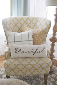 Home by Heidi: Farmhouse House Tour.Cute pillow for living room chair My Living Room, Home And Living, First Home, Farmhouse Decor, Farmhouse Ideas, Farmhouse Style, Custom Pillows, Decorative Pillows, Family Room