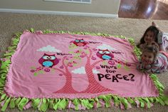 No Sew Fleece Tie Blanket Tutorial - Confessions of a Homeschooler