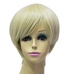 Capless High Quality Synthetic Janpanese Kanekalon Short Mixed Color Straight Hair Wig For Women