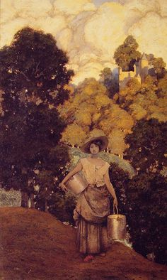 """Painting of the Day!  Maxfield Parrish (1870-1966) """"Milkmaid"""" Oil on paper 1901 http://www.artrenewal.org/pages/artwork.php?artworkid=2768&size=large"""