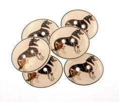 6 Dog Buttons.  Collie Dog Handmade Sewing by buttonsbyrobin