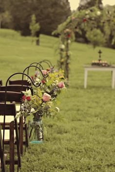 Rustic Outdoor Wedding Aisle - Weddings on a budget with cheap wedding ideas, cheap wedding dresses and cheap bridesmaids dresses - Your Che...