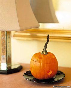 Pumpkin Pie Potpourri...drill holes in the pumpkin...rub the inside down w/cinnamon...poke a few cloves in the flesh...add a candle...