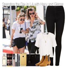 """""""Day in LA with Harry and Glene"""" by elise-22 ❤ liked on Polyvore featuring Topshop, Yves Saint Laurent, Goldgenie, Stila, shu uemura, NARS Cosmetics, Tom Ford, Chanel, women's clothing and women"""