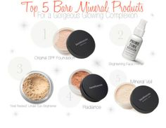 Top 5 @bareMinerals products for a healthy glowing complexion. #bareminerals #makeup #beauty #tips