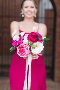 Get The Look: Bright Pink Wedding with Artificial Flowers - Pink Bridesmaids Bouquet bridesmaids pink Get The Look: Bright Pink Wedding with Artificial Flowers Prom Bouquet, Diy Wedding Bouquet, Wedding Dress, Wedding Decor, Wedding Pictures, Wedding Reception, Hot Pink Bridesmaids, Wedding Bridesmaids, Bridesmaid Dresses