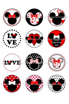 Risultati immagini per bottle cap images LOVE Bottle Cap Projects, Bottle Cap Crafts, Bottle Caps, Minnie Mouse Birthday Decorations, Mickey Minnie Mouse, Disney Cards, Circle Labels, Bottle Cap Images, Party In A Box