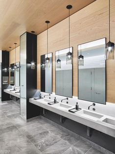 French marble floor tile and Hennepin Made pendant fixtures line a restroom. Photography by Eric Laignel. Zen Bathroom, Modern Master Bathroom, Office Bathroom, Modern Bathroom Design, Bathroom Interior Design, Bathroom Faucets, Home Interior, Bathroom Plants, Washroom Design