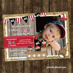 Pirate Birthday Party Photo Invitation by JanetteChiuDesign, $15.00