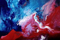 Red Blue White Abstract Art by kredart.com