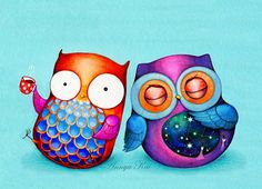 Owl Art Night Owl Morning Owl Colorful Bird di AnnyaKaiArt