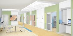 Staff at the caregiver station can have a clear line of sight into the NICU rooms. Each room has a decentralized caregiver station just inside the door. Rendering: Shepley Bulfinch.