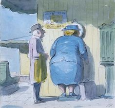 The Weighing Machine. Edward Ardizzone pen, ink and watercolour Eh Shepard, Edward Ardizzone, Plus Size Art, Paper Dimensions, Illustrators, Watercolour, Illustration Art, Germany Berlin, Royal Society