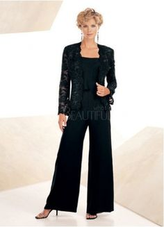 Classic Chiffon Square Lace Mother Of The Bride Pants Suit. Love this!