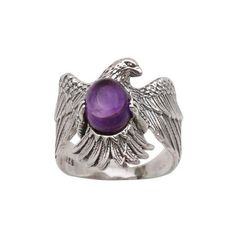 NOVICA Amethyst and 925 Sterling Silver Eagle Ring from Bali ($45) ❤ liked on Polyvore featuring jewelry, rings, amethyst, single stone, amethyst rings, purple jewelry, sterling silver amethyst ring, amethyst jewelry and sterling silver oval ring