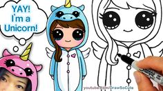 How to Draw Cute Girl in Unicorn Onesie step by step Easy - YouTube
