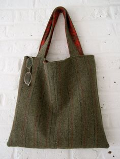 Handmade Recycled Lined Tweed Bag by MadeinW6 on Etsy