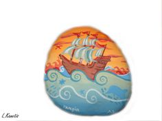 Sailboat on the sea painted rock