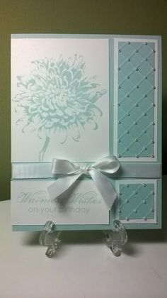 Stampin' Up! ... Getting away with Creativity: Elegant Birthday Wishes ... white and Soft Sky ... elegant look ... embossed lines for diamonds ... tiny pearls on the crossings ... beautiful ...