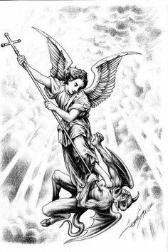 Jesse Santos - Book of angels Bad Tattoos, Body Art Tattoos, Sleeve Tattoos, Tattoos For Guys, St. Michael Tattoo, Archangel Michael Tattoo, Tattoo Sketches, Tattoo Drawings, St Micheal