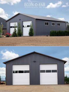 Check out this 40 x 60 x 16 beautiful residential pole building! This building features two overhead doors with windows, six 6 x 3 slider windows, and a walk in man-door. Pole Barn Shop, Diy Pole Barn, Pole Barn Garage, Pole Barn House Plans, Pole Barn Homes, Rv Garage, Pole Barns, Garage Plans, Metal Shop Building