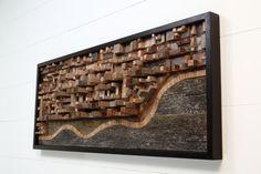 Reclaimed wood wall art 50x20x4 ocean city scape by CarpenterCraig, $1800.00 (REF:Rafalowski Dining Rm wall)
