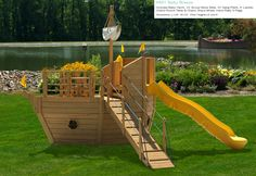 play+sets+outdoor | Home » Outdoor Wooden Playsets » Pirate Ship Playsets » #901 Salty ...