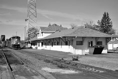 Duluth Winnipeg & Pacific depot at Ranier, Minnesota located about 1000 feet from the International Bridge which separates the United States and Canada. The depot now operates as a U.S. Customs building and crew change point for CN trains entering and leaving the U.S.