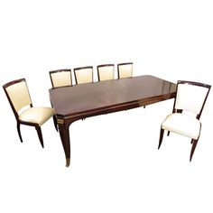 French Art Deco Rosewood Dining Set, 1930s