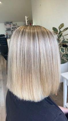 Blonde bob by Breanna Blonde Foils, Blonde Balayage Bob, Blonde Highlights, Blonde Hair, Shot Hair Styles, Long Hair Styles, Haircuts, Hairstyles, Cool Blonde