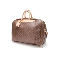 Pre-Owned Louis Vuitton Monogram Canvas Alize 2 Compartment Soft... ($1,000) ❤ liked on Polyvore featuring bags, luggage and brown