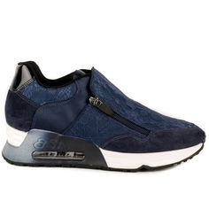 Ash Look Lace Trainers - Navy ($200) ❤ liked on Polyvore featuring shoes, sneakers, navy, navy lace shoes, zip shoes, navy blue shoes, ash sneakers and ash shoes