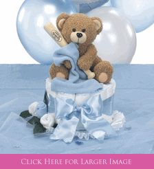 Teddy Bear Baby Shower Centerpiece - Baseball Baby Shower Diaper Cake Centerpiece with attachable balloon bouquet, Sock & Washcloth Rose Detail and Teddy Bear Table Sprinkles that can be personalized!