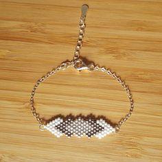 Gaia 925 silver bracelet woven with Miyuki glass beads - Bracelet Crochet, Bead Loom Bracelets, Beaded Bracelet Patterns, Bracelet Designs, Beaded Earrings, Jewelry Bracelets, Seed Bead Jewelry, Diy Jewelry, Beaded Jewelry
