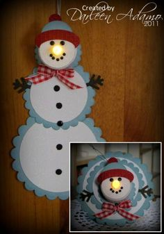 Snowman Tea Light Telescoping Card by darleenstamps - Cards and Paper Crafts at Splitcoaststampers? I need instructions for this. Try making out of wood from Joann crafts Christmas Paper, All Things Christmas, Handmade Christmas, Christmas Holidays, Christmas Decorations, Christmas Projects, Holiday Crafts, Snowman Cards, Snowman Ornaments