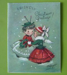 Vtg. Christmas Card-Two Ladies Exchange Greetings In Snow-Marjorie Cooper 1948