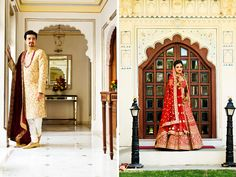 An ivory sherwani with heavy gold embroidery paired with a maroon velvet stole for the wedding of Groom Dhruv of WeddingSutra. Photos courtesy: P K Suri