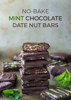 You MUST make these dark chocolate covered Mint Chocolate Date Nut Bars [ vegan, paleo ]. (Vegan, gluten-free and paleo)