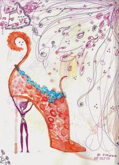 ~PAPER DOLL EVE: A GIRL DREAMS~: Cool Watercolor Woman Heel #heel #womanheel #fashion #illustration #orange #shoe