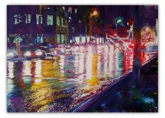 "Painting ""A rainy Night"". Wall Art, Oil Painting On Canvas, Original Painting, Wall Decor, Fine Art, Artwork by Alex Pelesh. by PeleshArtStudio on Etsy"