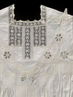 1905, England - Nightdress by Lilian Ethel Rowarth - Hand-embroidered cotton and muslin, insertions of bobbin lace